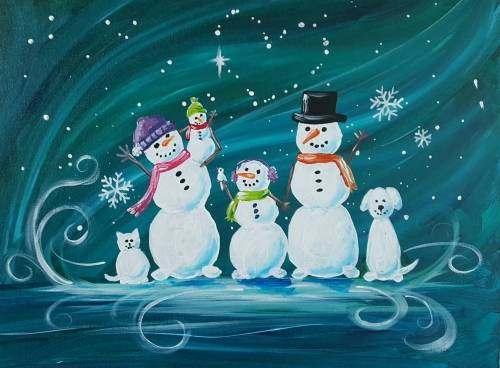 A Create Your Own Snow Family 2 paint nite project by Yaymaker