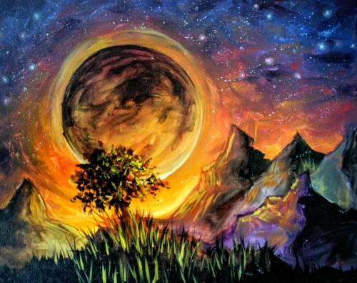 A Starry Moonlit Tree II paint nite project by Yaymaker