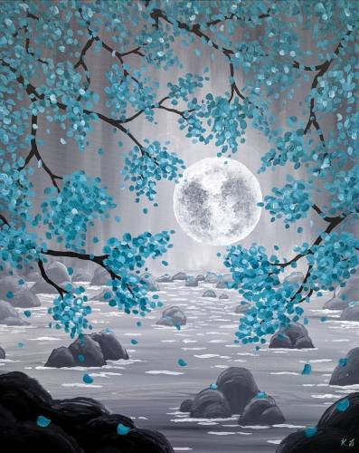 A Teal Moonrise paint nite project by Yaymaker