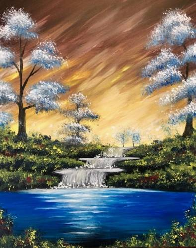 A Blue Waterfalls paint nite project by Yaymaker