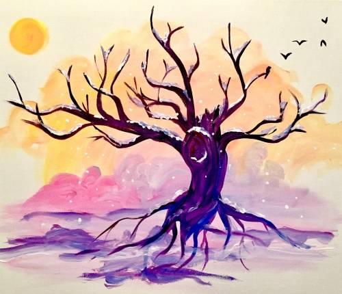 A Snowy Oak Sunset paint nite project by Yaymaker