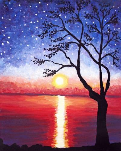 A Starry Daybreak paint nite project by Yaymaker