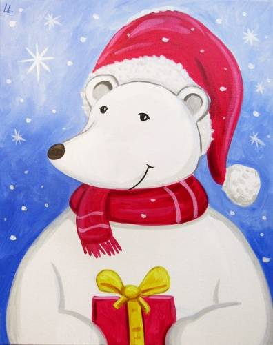 A Holiday Polar Bear paint nite project by Yaymaker