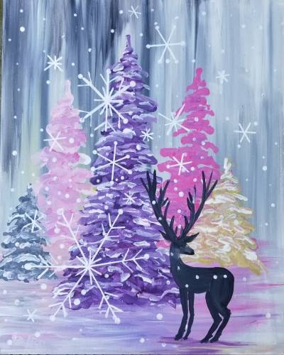 A Snowy Pastel Pines with Deer paint nite project by Yaymaker