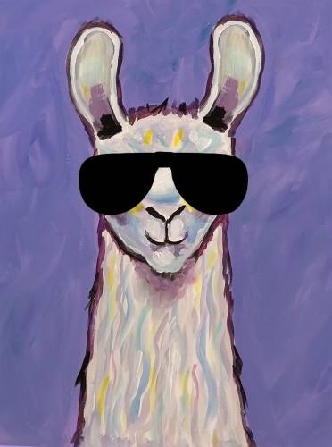 A Playful Llama Sunglasses paint nite project by Yaymaker