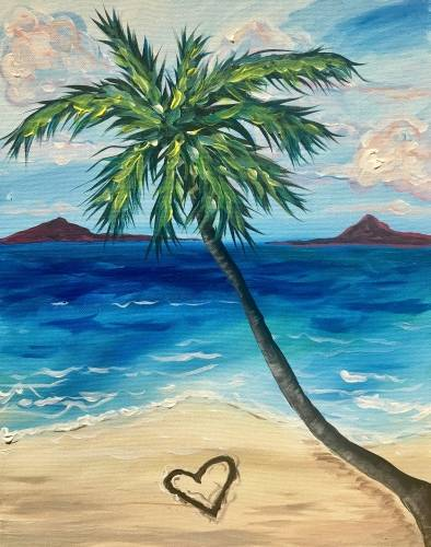 A Meet me at the Beach paint nite project by Yaymaker