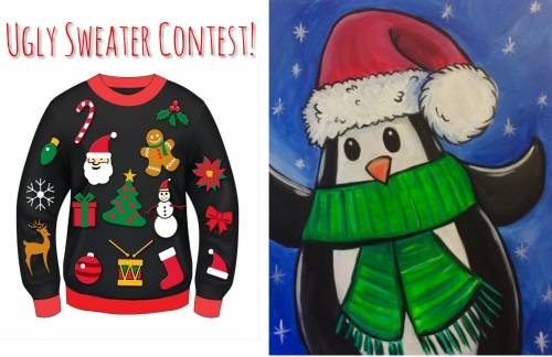 A Christmas Penguin Ugly Sweater Contest paint nite project by Yaymaker