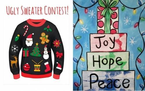 A Signs of Christmas Ugly Sweater Contest paint nite project by Yaymaker