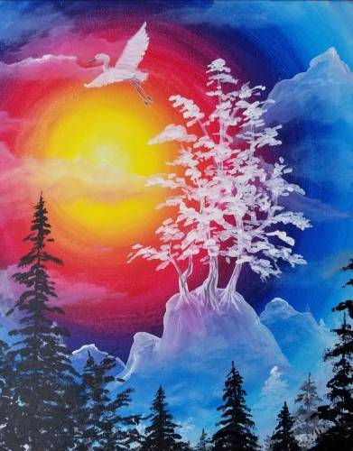 A Misty Mountain Sunset paint nite project by Yaymaker
