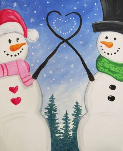 A Winter Holiday Love paint nite project by Yaymaker