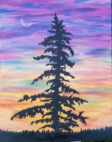 A Lone Pine at Sunset paint nite project by Yaymaker