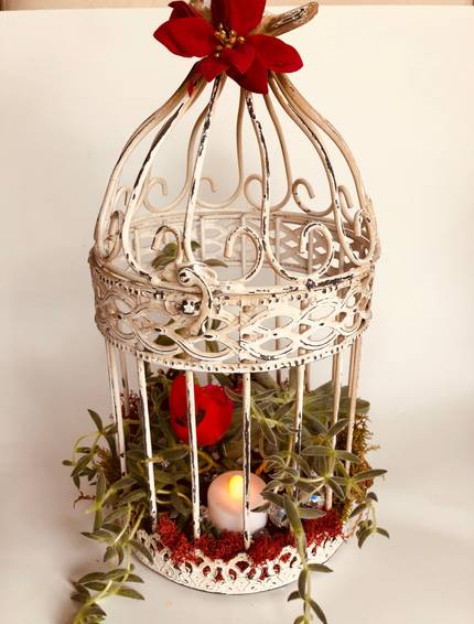 A Christmas Iron Birdcage with Succulents and Cardinal plant nite project by Yaymaker