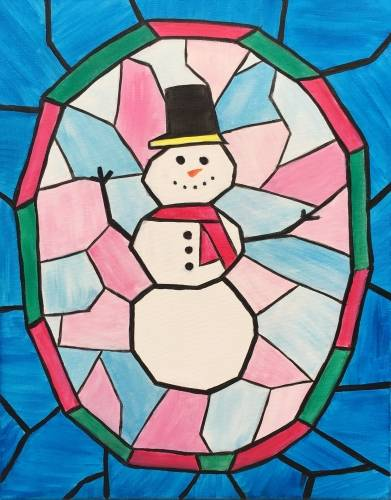 A Stained Glass Snowman paint nite project by Yaymaker