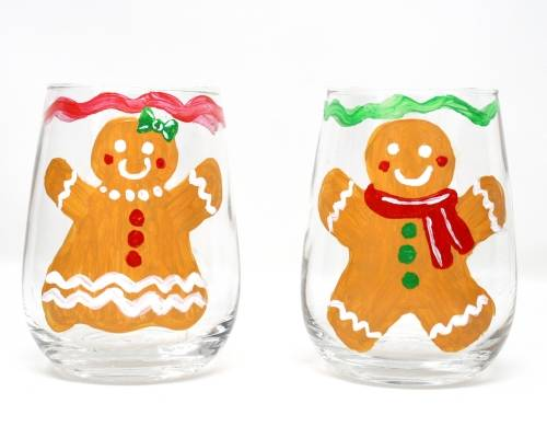 A Gingerbread Couple Stemless Wine Glasses paint nite project by Yaymaker