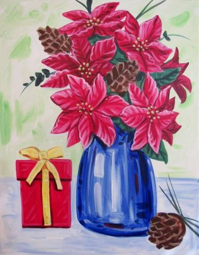 A Poinsettia Vase paint nite project by Yaymaker