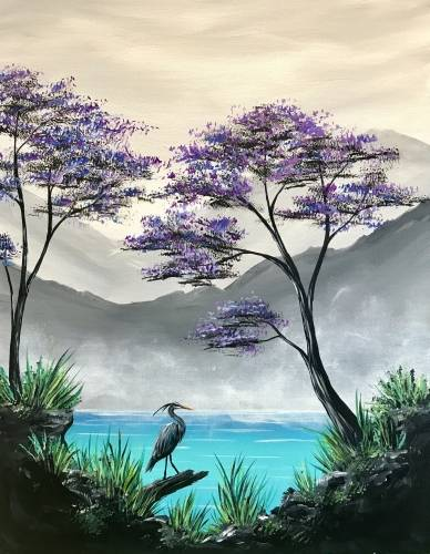 A Misty Mountain Lagoon paint nite project by Yaymaker