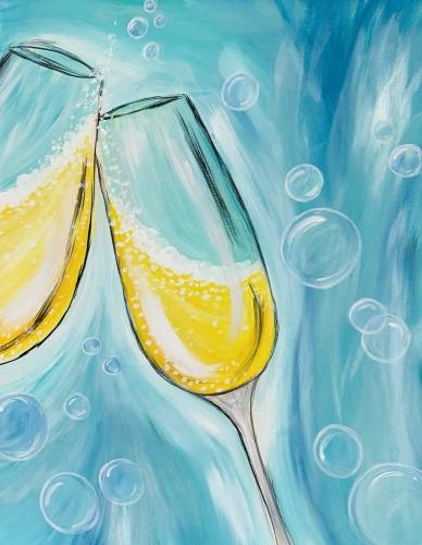 A Champagne And Bubbles Celebration Toast paint nite project by Yaymaker