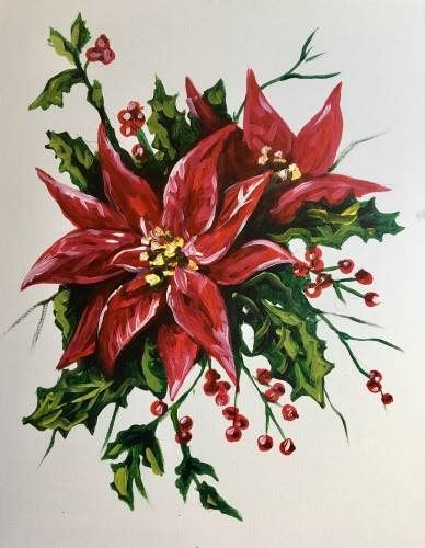 A Pretty Poinsettias paint nite project by Yaymaker