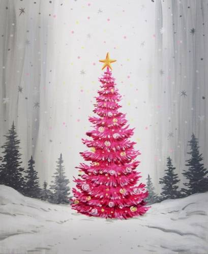 A Magical Holiday Tree paint nite project by Yaymaker
