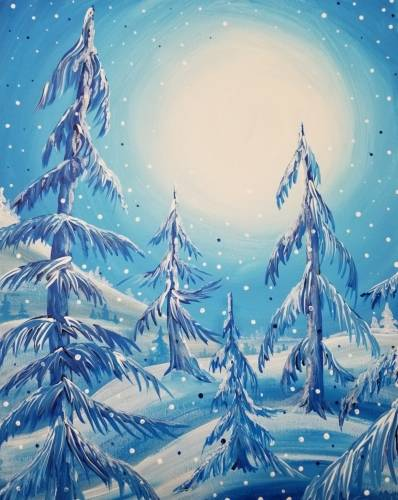 A Blue Winter Pines paint nite project by Yaymaker