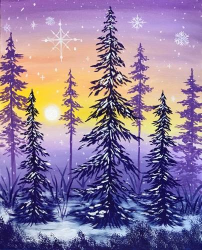 A Winter Forest Sunset paint nite project by Yaymaker