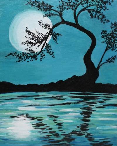 A Teal Moonlit Silhouette paint nite project by Yaymaker