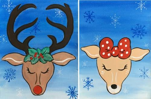 A Holiday Reindeer Pair  Partner Painting paint nite project by Yaymaker