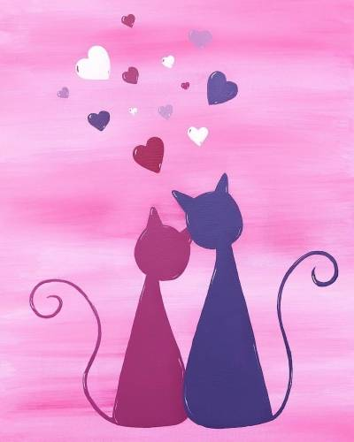 A Love Kitties paint nite project by Yaymaker