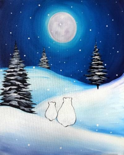 A Bears In A Winter Night paint nite project by Yaymaker