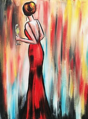 A Red Dress and Champagne paint nite project by Yaymaker