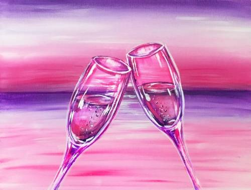 A Pink Sunset Toast paint nite project by Yaymaker