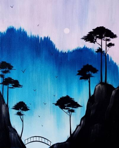 A Bonsai Mountains paint nite project by Yaymaker