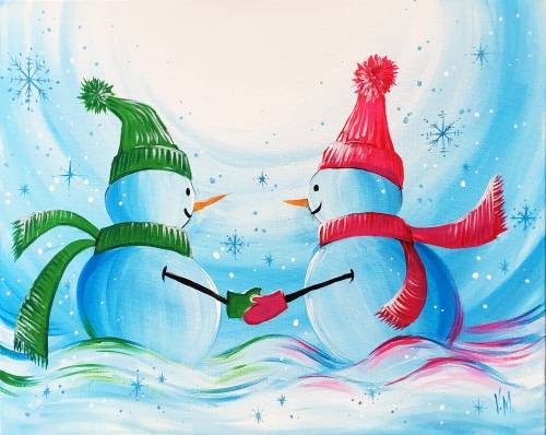 A Snowmen Love Story paint nite project by Yaymaker
