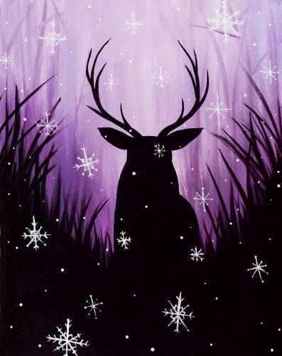 A Stag In Snowfall paint nite project by Yaymaker
