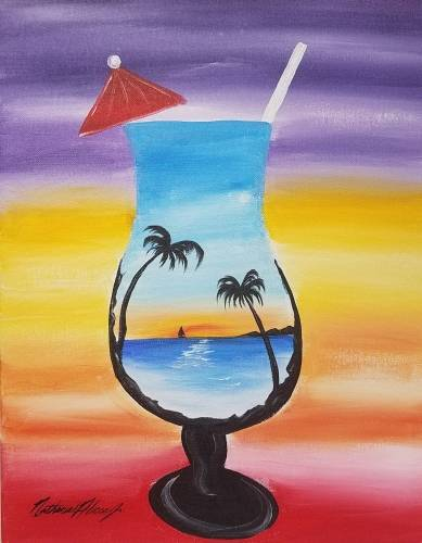 A A sunset drink paint nite project by Yaymaker