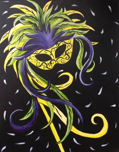 A Mardi Gras Masquerade paint nite project by Yaymaker