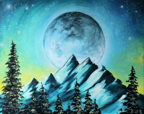 A Cold Moonlit Mountain paint nite project by Yaymaker
