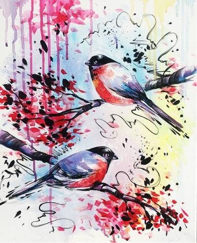 A Happy Little Birds paint nite project by Yaymaker