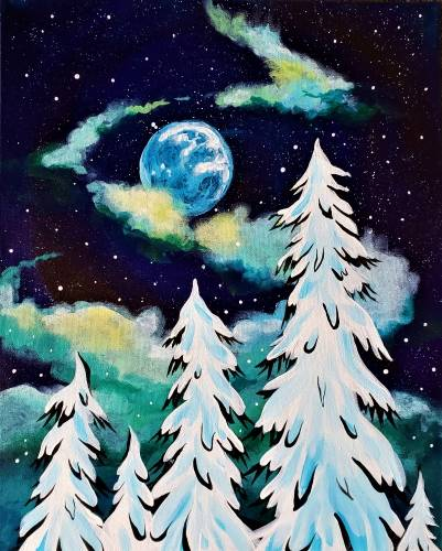 A Winter Misty Moon paint nite project by Yaymaker