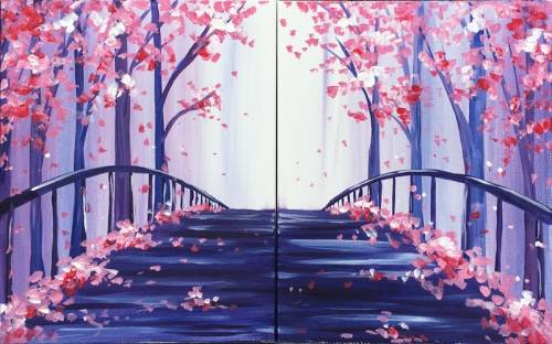 A The Bridge into Spring PARTNER PAINTING paint nite project by Yaymaker