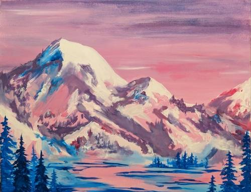 A Snowy Mountain Winter Sunset paint nite project by Yaymaker
