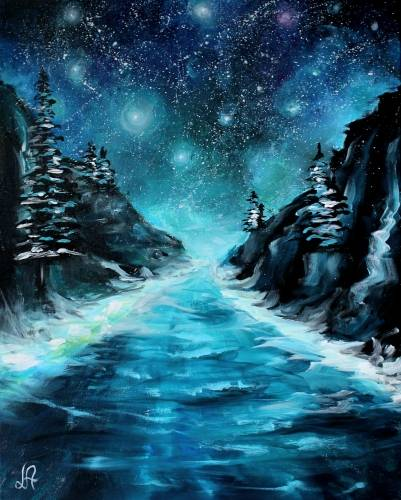 A Cold Starry Night paint nite project by Yaymaker