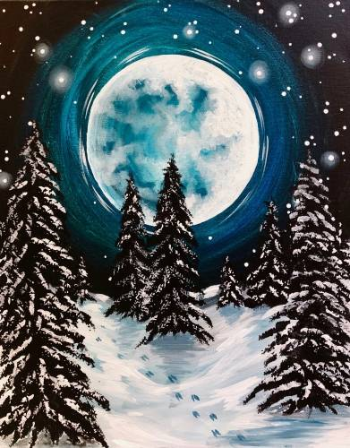 A Moonlit Tracks paint nite project by Yaymaker