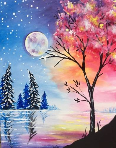 A Transitioning from Winter to Spring paint nite project by Yaymaker