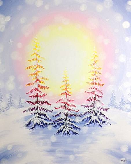 A Radiant Winter Dawn paint nite project by Yaymaker
