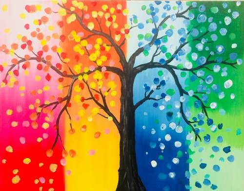 A Tree Of All Seasons paint nite project by Yaymaker