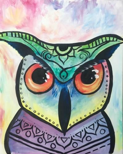 A Boho Owl II paint nite project by Yaymaker