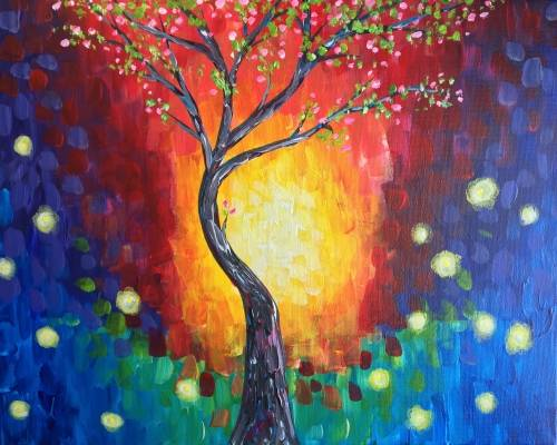 A Fireflies and Spring Blooms paint nite project by Yaymaker