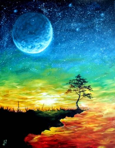 A Moonlit Sunset paint nite project by Yaymaker