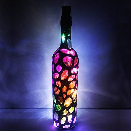 A Magical Wine Bottle with Fairy Lights paint nite project by Yaymaker